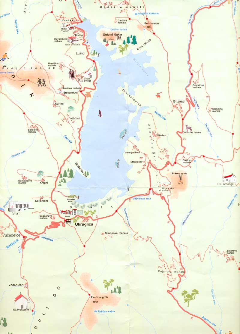 vlasinsko jezero mapa Vlasinsko jezero :: mapa jezera vlasinsko jezero mapa
